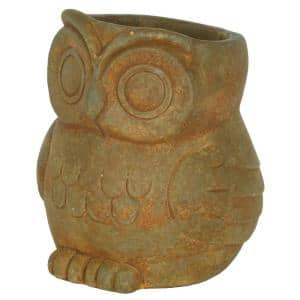 Large Rust Cement Owl Planter
