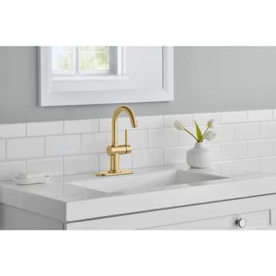 Dorind Single Hole Single-Handle High-Arc Bathroom Faucet in Matte Gold