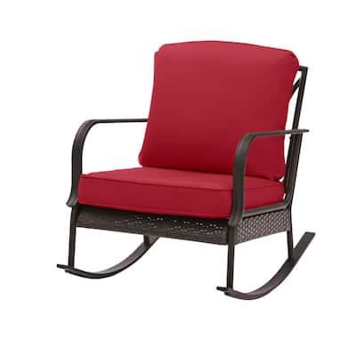 Becker Dark Mocha Steel Outdoor Patio Rocking Chair with CushionGuard Chili Red Cushions