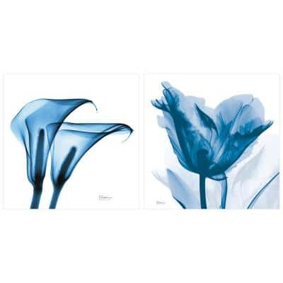"""""""Tulip and Lililes"""" Unframed Free Floating Tempered Glass Diptych Wall Art Print 24 in. x 24 in."""