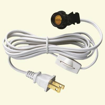 6 ft. White Candelabra Base Socket and Cord with Switch and Plug Set