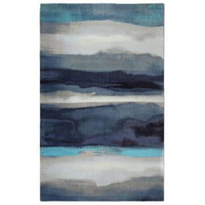 Canvas Contemporary Modern Blue 5 ft. 6 in. x 8 ft. 6 in. Area Rug