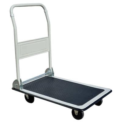 300 lbs. Capacity Steel Folding 4-Wheeled Platform Truck Utility Cart in White