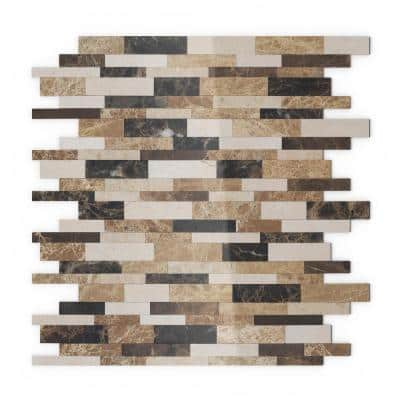 Amber Brown 11.65 in. x 11.34 in. x 5mm Stone Self-Adhesive Wall Mosaic Tile (11.04 sq. ft. / case)
