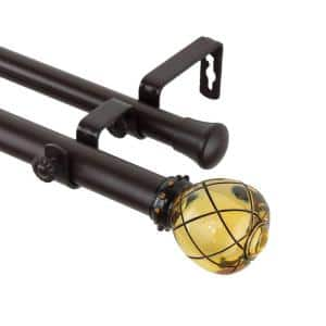 28 in. - 48 in. 1 in. Supreme Double Curtain Rod Set in Clear Champagne
