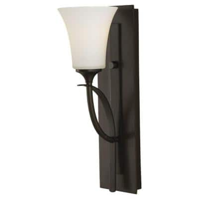 Barrington 5 in. 1-Light Oil Rubbed Bronze Vanity Light with White Opal Etched Glass Shades