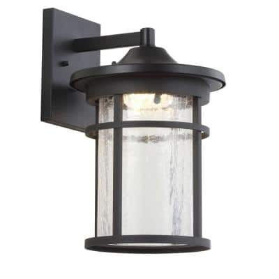 Porto Large 14 in. Black Integrated LED Outdoor Wall Lantern Crackled Glass/Metal Sconce