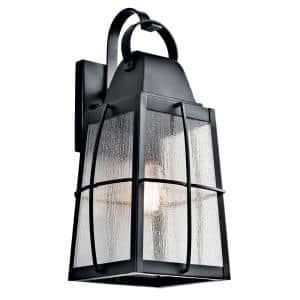 Tolerand 20.25 in. 1-Light Textured Black Outdoor Wall Mount Sconce with Clear Seeded Glass