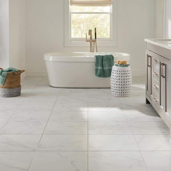 Lifeproof Carrara 18 In X 18 In Glazed Porcelain Floor And Wall Tile 17 6 Sq Ft Case Lp501818hd1p6 The Home Depot