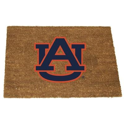 Auburn Brown 29.5 in. x 19.5 in. Coir Fiber Colored Logo Door Mat