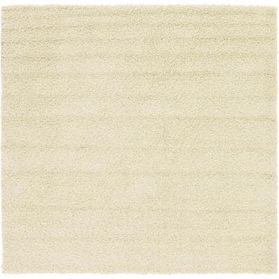 Solid Shag Pure Ivory 8 ft. Square Area Rug