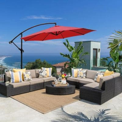 10 ft. Cantilever Outdoor Patio Umbrella in Red