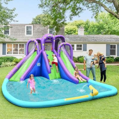 Inflatable Water Park Octopus Bounce House Green Dual Slide Climbing Wall with Blower