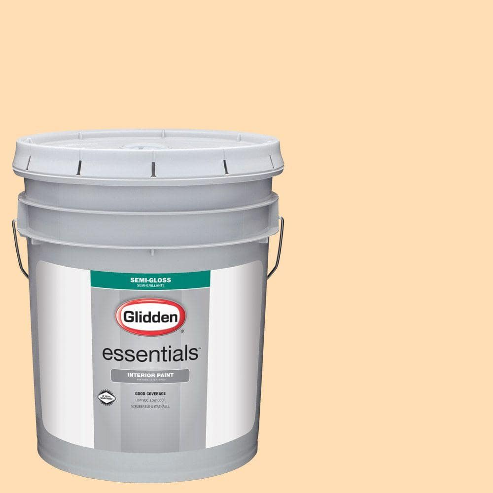 Glidden Essentials 5 Gal Hdgo57 Venetian Stucco Semi Gloss Interior Paint Hdgo57e 01sd The Home Depot