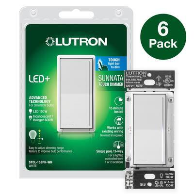 Sunnata LED+ Dimmer Switch, for LED Incandescent/Halogen Bulbs, 150-Watt 3-Way, White (6-Pack)