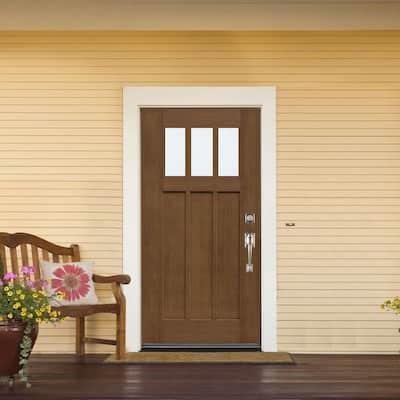 36 in. x 80 in. Medium Oak Left-Hand Inswing 3 Lite LoE Classic Craftsman Stained Fiberglass Prehung Front Door