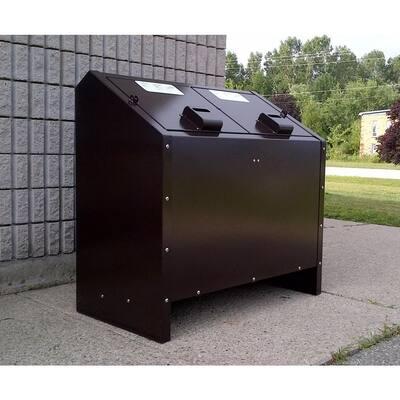 68 Gal. Metal Animal Proof Trash Can in Brown