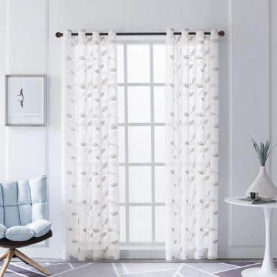 Beige Leaf Embroidered Grommet Sheer Curtain - 54 in. W x 84 in. L