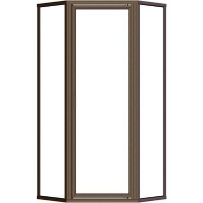 Deluxe 24-3/8 in. x 68-5/8 in. Framed Neo-Angle Hinged Shower Door in Oil Rubbed Bronze