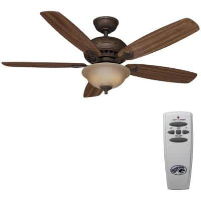 Southwind 52 in. Indoor LED Venetian Bronze Dry Rated Ceiling Fan with 5 Reversible Blades, Light Kit and Remote Control