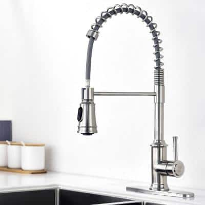 Spring Single-Handle Pull-Down Sprayer Kitchen Faucet with 2 Spray Mode in Stainless Steel