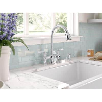 Capilano 2-Handle Bridge Farmhouse Pull-Down Kitchen Faucet with Soap Dispenser and Sweep Spray in Polished Chrome