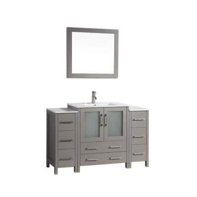 Brescia 54 in. W x 18 in. D x 36 in. H Bathroom Vanity in Grey with Vanity Top in White with White Basin and Mirror