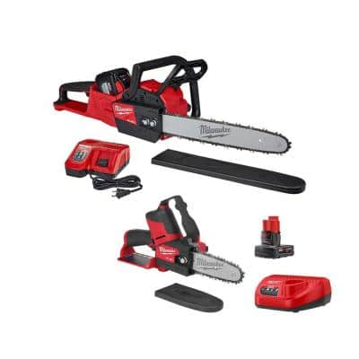 M18 FUEL 16 in. 18-Volt Lithium-Ion Battery Brushless Cordless Chainsaw Kit and M12 FUEL HATCHET Combo Kit (2-Tool)