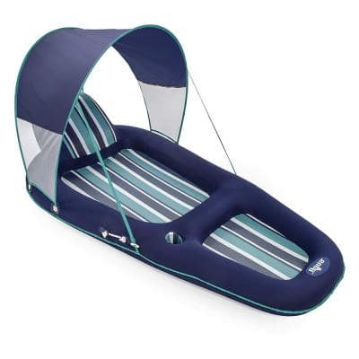 Blue Oversized Deluxe Inflatable Pool Lounger Float with Sunshade Canopy