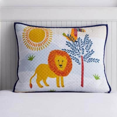 Jungle Animals Multicolored Cotton Jersey Textured Standard Sham