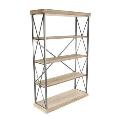 48 in. L x 17 in. W x 72 in. H Matte Black/Natural Brown Metal 5-Shelf Etagere Bookcase