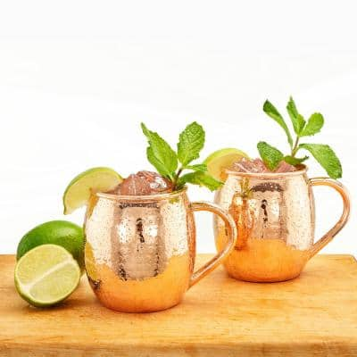 16 oz. Hammered Solid Copper Moscow Mule Mug (Set of 2)