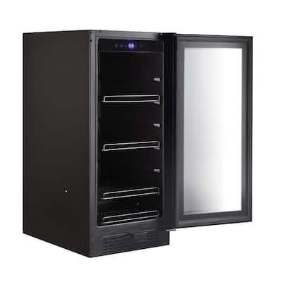Built-In Black Glass 80-Can 12 oz. / 33-Bottle Capacity 3.4 cu. ft. Beverage Refrigerator Cooler