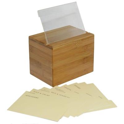Bamboo Recipe Box with Divider
