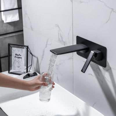 Square Single-handle waterfall Wall mount faucet in Matte Black