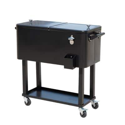 80 QT Rolling Ice Chest Portable Patio Party Drink Cooler Cart,Black