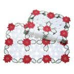 14 in. x 20 in. Holiday Poinsettia Embroidered Cutwork Placemat (4-Set)