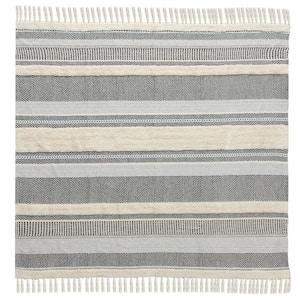 Variety Striped Navy Blue/Cream Cotton Throw Blanket with Fringe