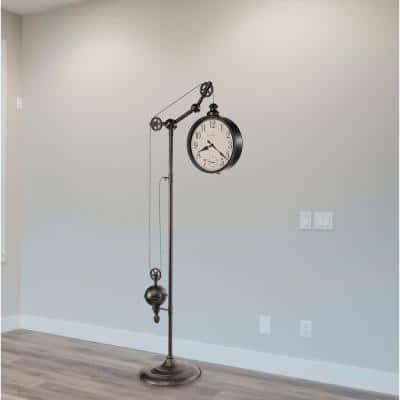 PULLEY TIME II Series Charcoal Gray Battery Operated Floor Clock