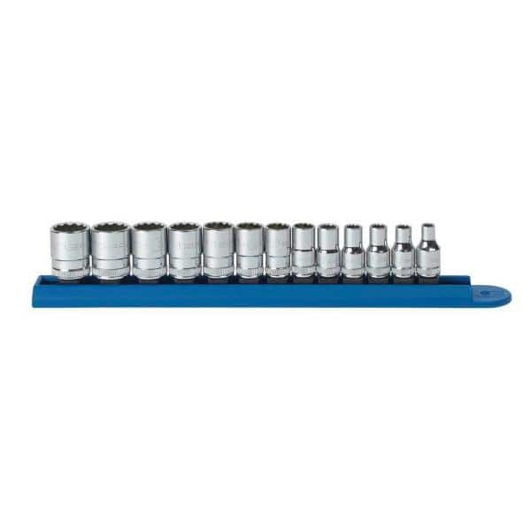 9 Piece 1//4 Inch Drive 12 Point Standard SAE Sockets