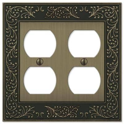 English Garden 2 Gang Duplex Metal Wall Plate - Brushed Brass