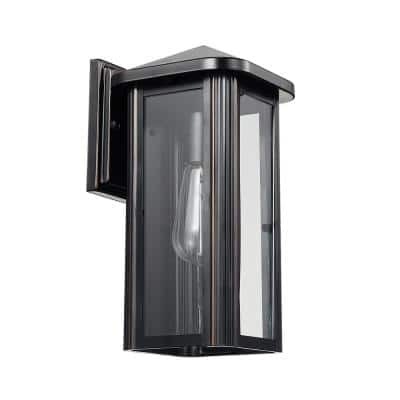 Clarence 1-Light Oil Rubbed Bronze Outdoor Indoor Wall Lantern Sconce with Clear Glass Shade and Bulb Included