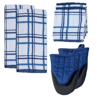 Kitchen Basics Cotton Indigo Kitchen Textiles (Set of 8)