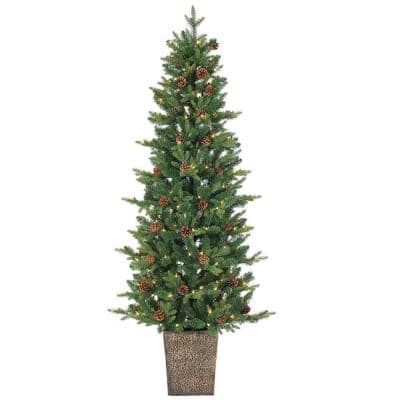 6 ft. Pre-Lit Natural Cut Georgia Pine Artificial Christmas Tree with Clear Lights in Pot
