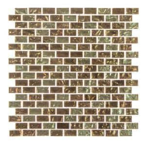 Infusion Gold Metallic 11.875 in. x 11.375 in. Interlocking Brick Glass Mosaic Tile (0.938 sq. ft/Each)
