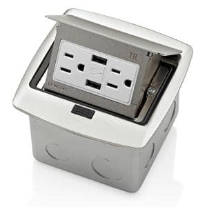 Pop-Up Floor Box with Dual Type A, 3.6 Amp USB Charger, 15 Amp Outlet, Brushed Nickel