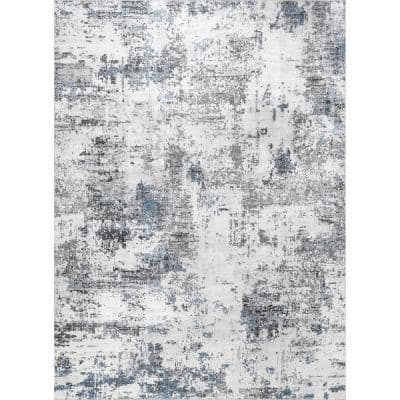Dali Gray 5 ft. x 8 ft. Machine Washable Modern Abstract Indoor Area Rug