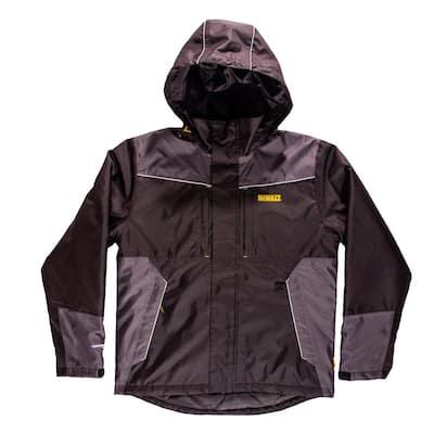 Brookeville Men's Size Large Black Polyester Waterproof Hooded Jacket