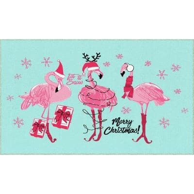 Flamingo Snowflakes Light Blue 2 ft. x 3 ft. 4 in. Holiday Area Rug