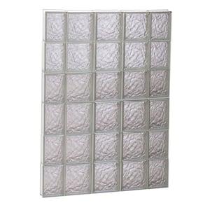 34.75 in. x 46.5 in. x 3.125 in. Frameless Ice Pattern Non-Vented Glass Block Window